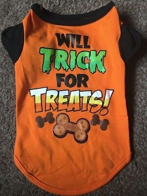 CUTE DOG PUPPY ORANGE HALLOWEEN 'WILL TRICK FOR TREATS!' T-SHIRT TOP - FREE POST