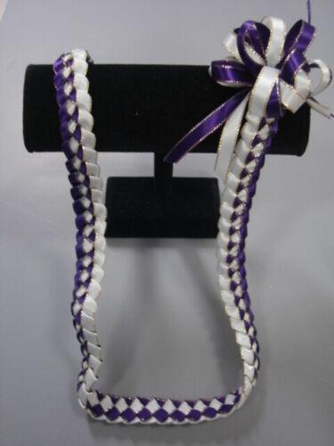 Hawaiian Braid Metalic Edge Ribbon Lei Purple and White