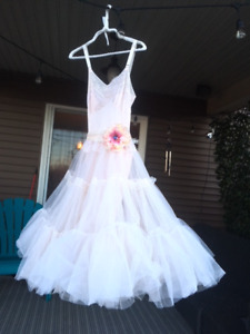 Palest blush pink tulle and lace ballerina beach wedding dress