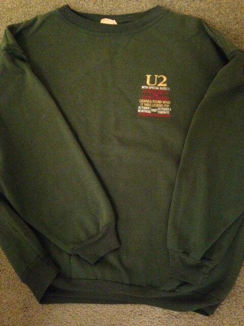 Vintage Rock Wear U2 Rare! Green 1987 Crew Swag Sweatshirt Joshua Tree Canada