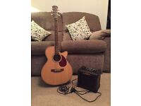 Freshman FA1AM 6string Electro-Acoustic Guitar complete with soft padded case, Amp and audio lead