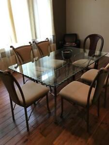 Very Nice Glass Dining Set 6 Chairs