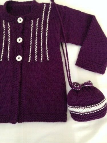 sweater girls 7-8 years new cardigan & bag hand knitted color violet