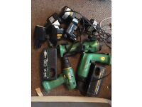 hitachi cordless-assortment of drills chargers batteries