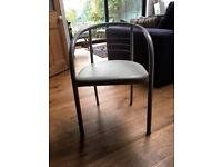 4 grey metal and cushion chairs