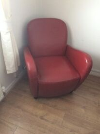Lovely Red Leather Arm Chairs