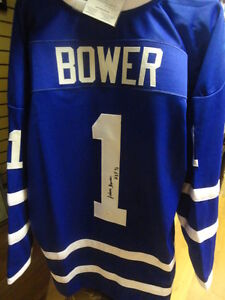 Johnny Bower HOF Autographed Maple Leafs Jersey JSA at Slapshot!