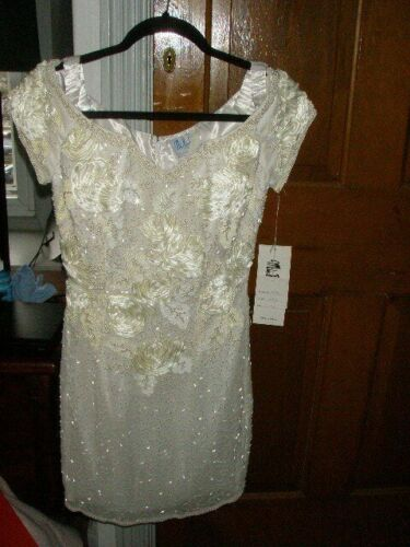 Mike Benet Formal Dress - White with Pearls/Sequins - Size 6