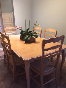 Solid Hard Rock Maple French Provincial Dining Set w/ 10 Chairs