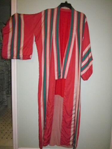 Vintage Japanese Red/Orange Striped Kimono Robe Handmade Silk