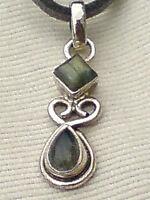 Vintage Sterling Silver & Labradorite 30mm Pendant On An18,grey Thong £12.50 -  - ebay.co.uk
