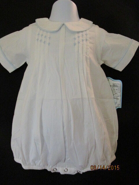 NWT HEIRLOOM EMBROIDERED & TUCKED WHITE OUTFIT W/ BLUE ACCENTS & PIPING SPECIAL