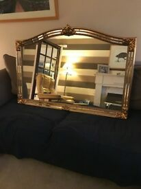 Mirror - large Loungeroom mirror with antique gold gilt edge - made in belgium - good condition