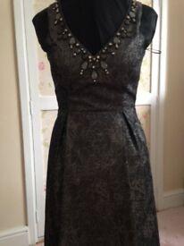 Dark grey / silver very shiny flower brocade dress