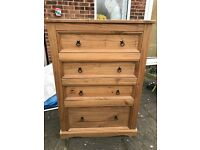 4 Draw solid wood chest of draws
