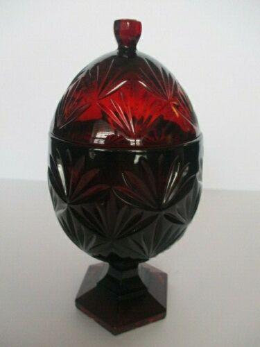 Ruby Red Glass Egg Candy Dish , pedestal ,Luminarc