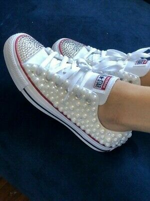 Women's White Pearl and Bling Converse Sneakers for Bride and Wedding ()