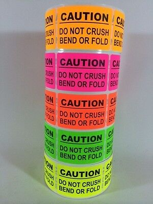 100 2x3 CAUTION Sticker LABEL NEON +(10 SMILEY THANK YOU)  DO NOT BEND FRAGILE - Thank You Smiley
