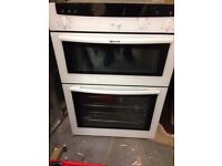 NEFF white finish fan assisted electric double oven.