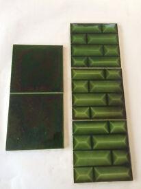 Victorian fireplace tiles brick design x 3 + 2plain dark green