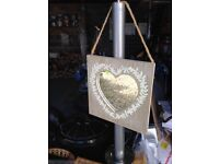 **A LOVELY VINTAGE STYLE SMALL MIRROR -heart feature and rope hanger- lovely item **