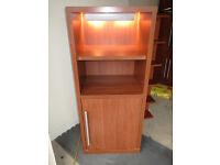 Lovely Ikea display cabinet 4 shelf unit, 2 open shelves & 2 shelving storage office cupboard table