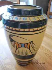 IRANIAN VASE Handpainted with Water Buffalo ? Beautiful 9 1/2 in