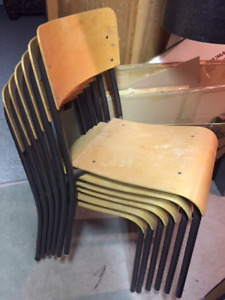 6 vintage school auditorium stacking chairs
