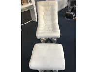 White faux leather gaming chair and footstool
