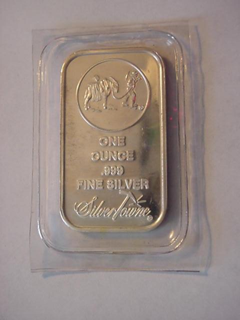 SilverTowne Logo 1oz .999 Fine Silver Bar Donkey Prospector