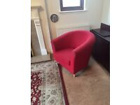 Two red tub chairs. Bought from John Lewis