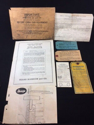 Vintage 1955 Sears Allstate Air Compressor 102.211 Operating Instructions Misc