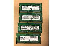 4 x 2GB sticks of Crucial PC3 10600 speed 204 pin DDR3 RAM