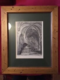 Framed print 'Paisley Abbey Chapel on the South Side of the choir