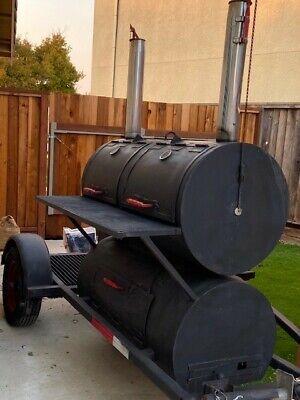 Large Custom Built Bbq Smoker Grill On Single Axle Trailer.