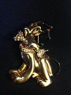 Disney Napier Pluto with Rhinestone Collar & Bone Goldtone Jewelry Brooch Pin