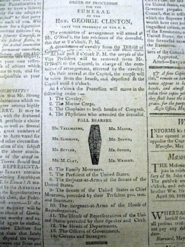 1812 Black Border newspaper DEATH Former New York State Governor GEORGE CLINTON