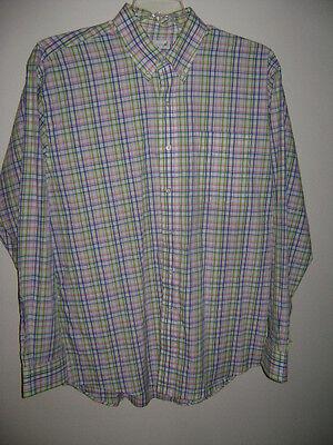 (NWT CUTTER & BUCK MEN DRESS BLAKE SHIRT size L  WHITE BLUE GREEN STRIPES COTTON)