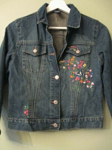 Gap Girl Denim Large (10) 100% Cotton India Flower Embroidery Spring Jean Jacket