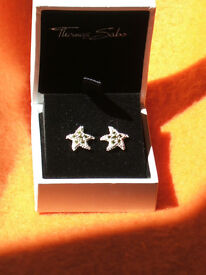 thomas sabo silver & greenstarfish earrings new in box