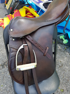 """16.5"""" County Secure Seat Saddle. $200.Stirrups/Leathers included"""