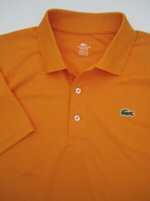 Mens size 7 Lacoste Sport orange polyester golf polo shirt