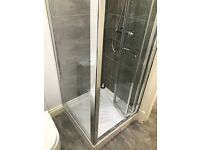 800 x 800 shower tray and corner cubicle glass folding door