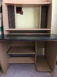 Wood computer / Office desk with shelving and CD racks