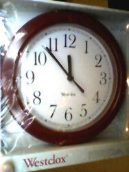 Westclox   Round Simplicity Wall Clock, PLASTIC Burgundy Case, 8.5