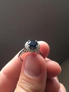 Unique Engagement Ring- 18ct White Gold Sapphire & Diamond Cluste West Pennant Hills The Hills District Preview