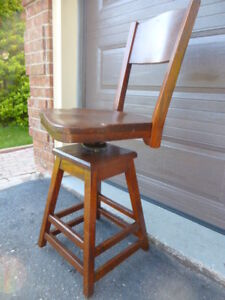 ANTIQUE OAK INDUSTRIAL ADJUSTABLE SWIVEL CHAIR STOOL