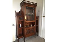 Beautiful carved walnut display cabinet with fretwork gallery In immaculate condition