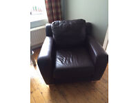 One Seat Sofa/Armchair, Brown Faux Leather