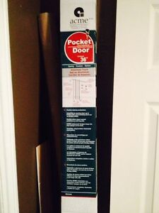 Pocket Door Kit with 30 x 80 Colonial door and privacy lock